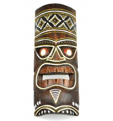 Tiki mask h30cm wood colorful pattern. Deco Polynesia