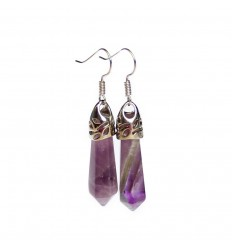 Pair of earrings in amethyst, clasp silver plated.