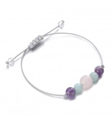 Jewelry charm bracelet for well-being, quartz, amethyst, amazonite.
