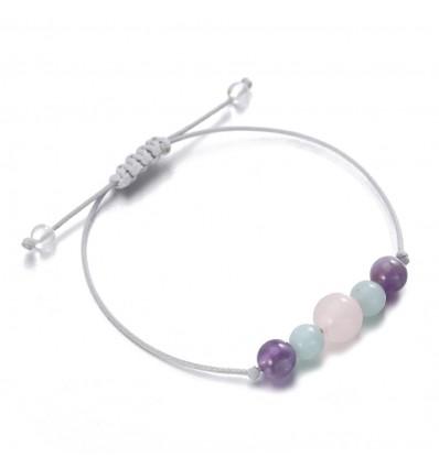 Gioielli braccialetto di fascino per il benessere, quarzo, ametista, amazzonite.