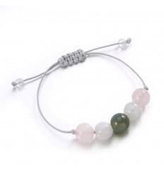 """Bracelet Porte-bonheur """"Amour"""". Agate mousse, quartz rose, pierre de lune."""