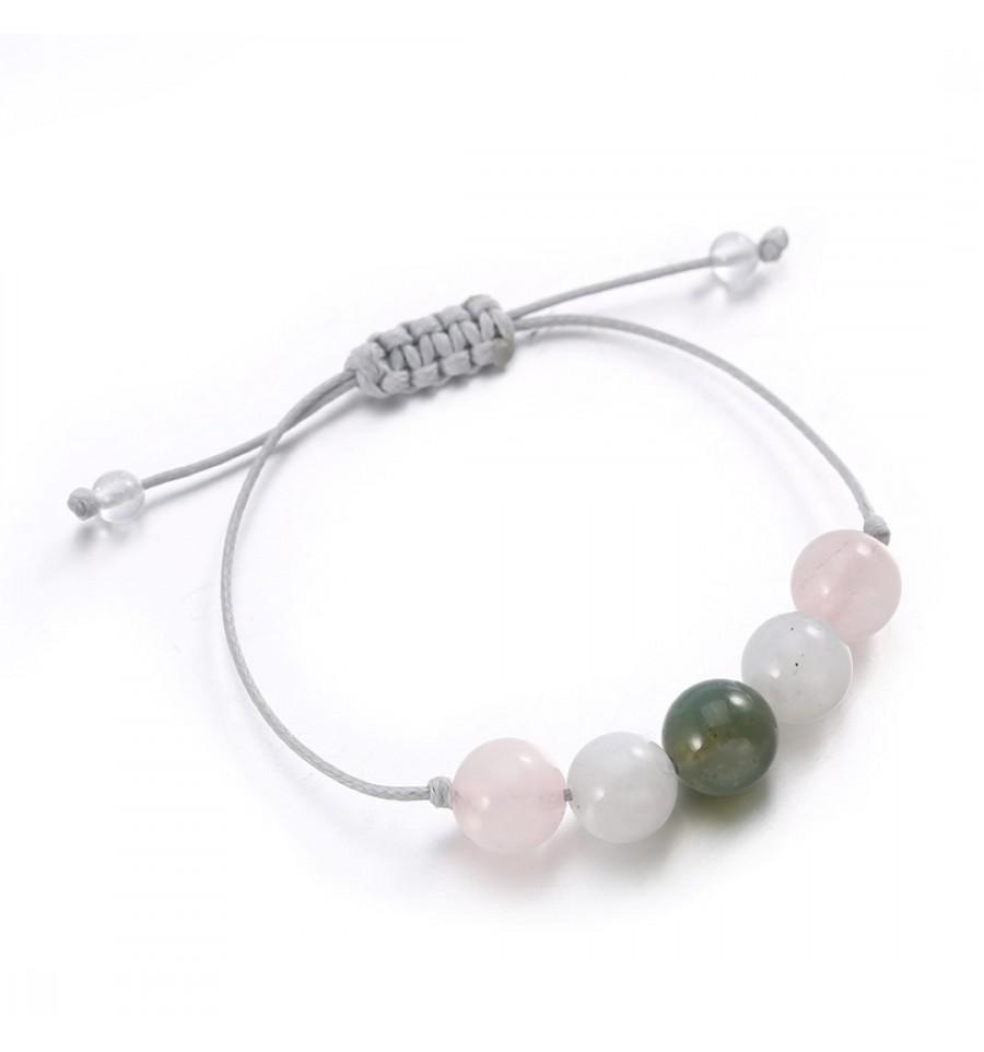 Bijou bracelet porte,bonheur amour, agate pierre de lune quartz rose.