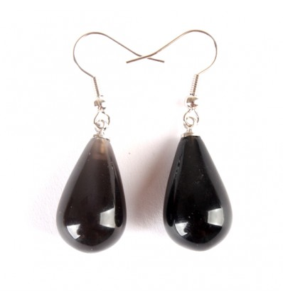 Earrings drop onyx, hook, plated silver.