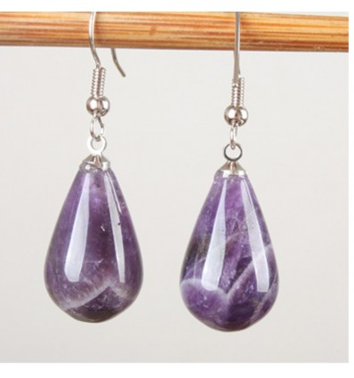 Shape earrings drop amethyst, hook, plated silver.