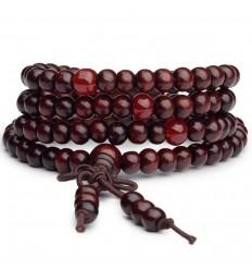 Bracelet Tibétain, Mala en perles de bois 6mm + noeud sans fin. Coloris bordeaux