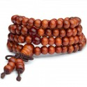 Bracelet Tibétain, Mala en perles de bois + noeud sans fin. Coloris orange