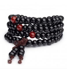 Bracelet Tibetan Mala beads wood 6mm + node without end. Black