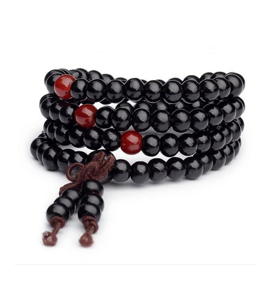 prix de la rue nouveau produit plusieurs couleurs Bracelet Bouddhiste mala tibétain perles bois, noeud sans ...