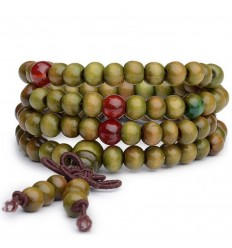 Bracelet Tibetan Mala beads wood + node without end. Colour green