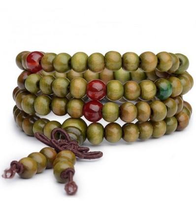 Bracciale Mala Tibetano perline in legno + nodo senza fine. Colore verde