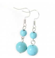 Pair of earrings 2 balls of Turquoise