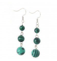 Earrings hanging 3 balls of Malachite - free Shipping !!!