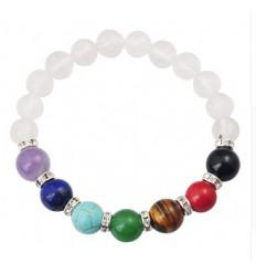 Bracelet 7 chakras en Cristal de Roche