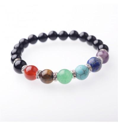 Bracelet 7 chakras en Onyx. Livraison gratuite