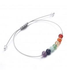 Bijoux pierre : bracelet yoga porte-bonheur 7 chakras, pierres fines.