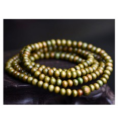 Bracelet Tibetan Mala beads wood 6mm green.