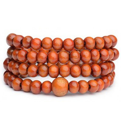 Bracciale Mala Tibetano perline di legno di colore arancione.