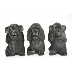 The 3 wise monkeys XL. Statues solid wood black H20cm