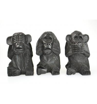 Le 3 scimmie sagge XL. Statue in legno massello nero H20cm