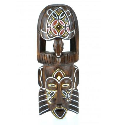 Masque africain en bois motif tortue. Décoration murale afrique.