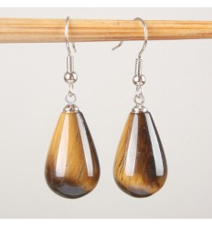 Shape earrings drop tiger eye, hook, plated silver.