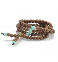 Bracelet Tibétain, Mala en perles de bois + noeud sans fin. Livraison offerte !