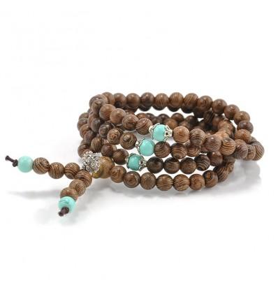 Bracelet Tibétain, Mala en perles de bois et + noeud sans fin. Livraison offerte !