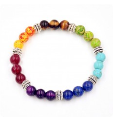 Bracelet 7 chakras, silver plated metal and fine stones.