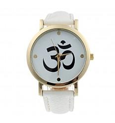 """Montre fantaisie """"Aum"""" - bracelet similicuir blanc. Livraison gratuite !"""