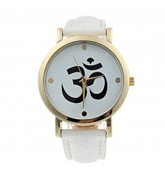 "Shows fantasy ""Aum"" - strap: leatherette-white"