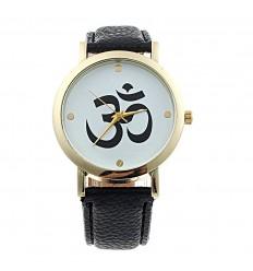 """Montre fantaisie """"Aum"""" - bracelet similicuir noir"""