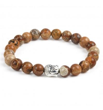 Bracelet élastique jaspe bois anti-stress motif bouddha, pas cher.