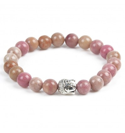 Bracelet rhodonite anti-stress perle bouddha. porte-bonheur examens.