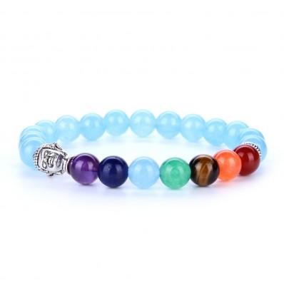 Bracelet 7 chakras aigue-marine et 7 pierres fines.