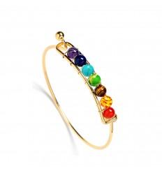 Bracelet 7 chakras, golden metal and 7-precious stones.