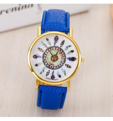 Montre femme motif plumes, bracelet violet. Livraison France Gratuite !