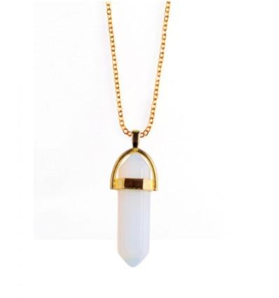 Collana con ciondolo punti Opale bianco naturale. L'Amore, La Sensualità, L'Intuizione.