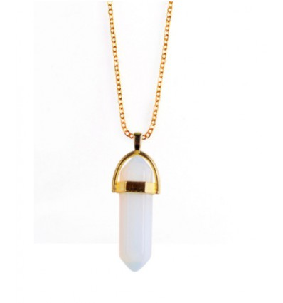 Necklace with pendant points Opal natural white. Love, Sensuality, Intuition.