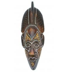 Masque en bois 30cm - crête africaine - décoration ethnique chic.