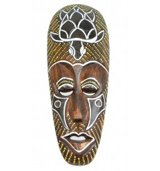 African mask in wood 30cm pattern Turtle.