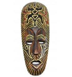 Masque Africain en bois 30cm motif Gecko.