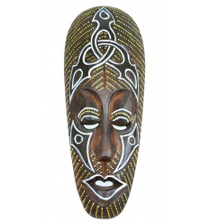 Masque Africain en bois 30cm motif tribal.