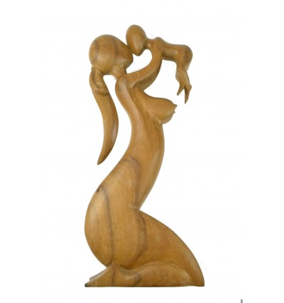 "Great Statue of ""Maternity"" h50cm raw wood. The mother and the child"