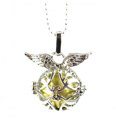 "Necklace fancy anti-stress Bola pregnancy ""Angel Wings"" - silver metal"