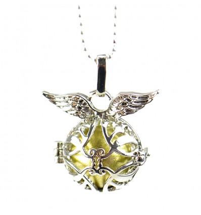 "Necklace fancy anti-stress Bola pregnancy ""Angel Wings"" - silver metal"