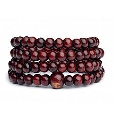 Bracelet Tibétain, Mala en perles de bois 6mm bordeaux.