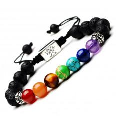 Bracelet 7 chakras et pierre de lave - Symbole Arbre de vie argenté.
