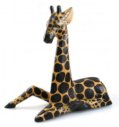Décoration girafe statue bois, déco chambre enfant safari savane.