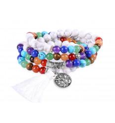 Bracelet multirang 7 chakras - Mala tibetan Howlite and stones + symbol tree of life