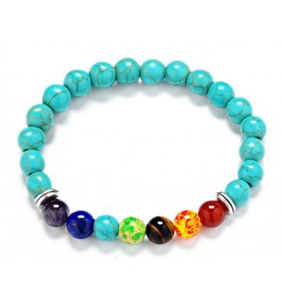 Bracelet 7 chakras en Howlite turquoise